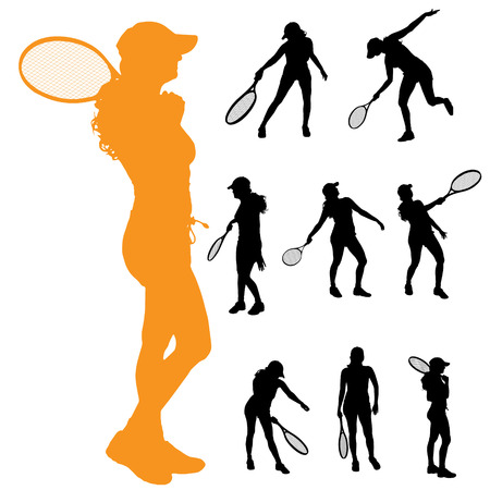 Vector silhouette of a woman who plays tennis. Vector