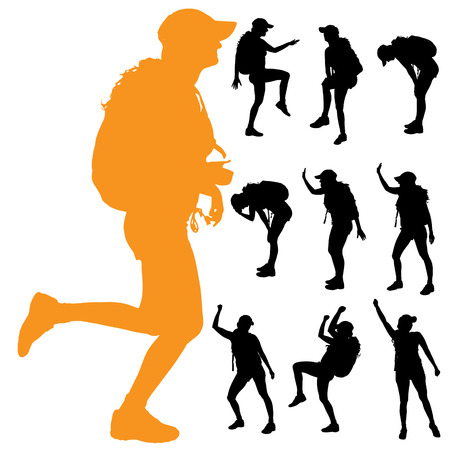 trekker: Vector silhouette of a woman with a backpack on a white background.