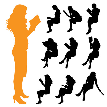 body woman: Vector silhouette of a woman on a white background.