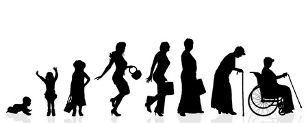 ages: Vector silhouette generation women on a white background. Illustration