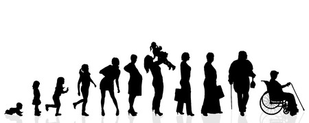Vector silhouette generation women on a white background. Иллюстрация