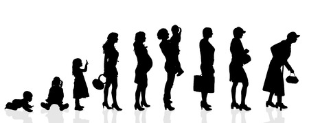 progression: Vector silhouette generation women on a white background. Illustration