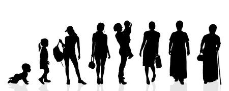 evolucion: Mujeres silueta generaci�n vectorial sobre un fondo blanco. Vectores
