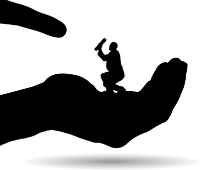felon: Vector silhouette of a businessman on palm on white background. Illustration