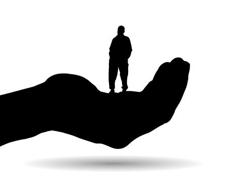 Vector silhouette of a man on palm on white background. Vector