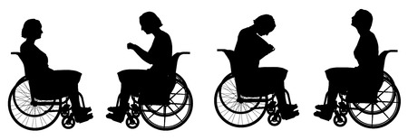 Vector silhouette of a woman who is in a wheelchair. Vector
