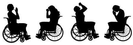 hopeless: Vector silhouette of a woman who is in a wheelchair.