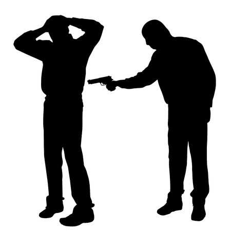 execution: Vector silhouette of a man with a gun on a white background.
