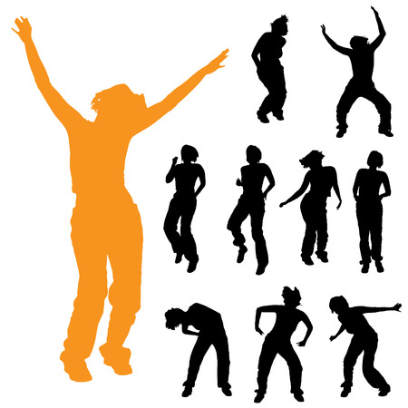 woman jump: Vector silhouette of a woman on a white background.