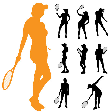 tennis girl: Vector silhouette of a woman who plays tennis.