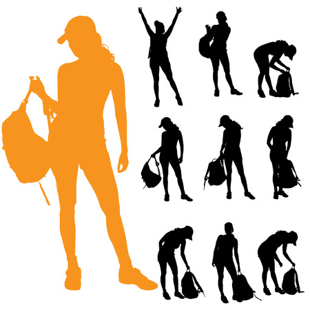 student travel: Vector silhouette of a woman with a backpack on a white background.