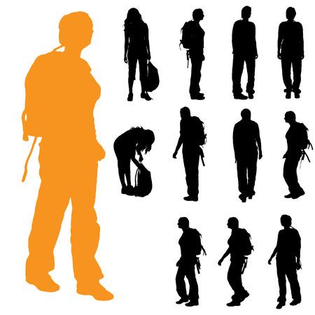白い背景の上のバックパックを持つ女性のベクトル シルエット。