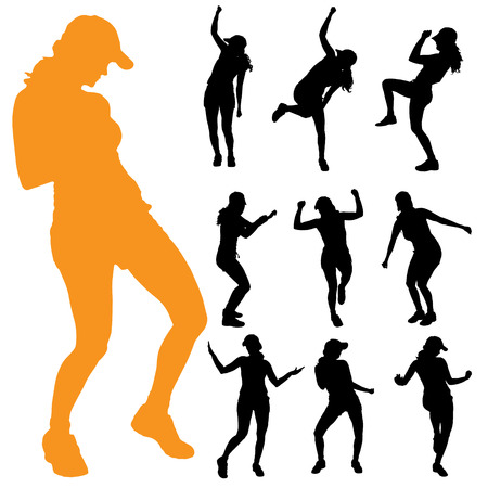 zumba: Vector silhouette of a woman on a white background.