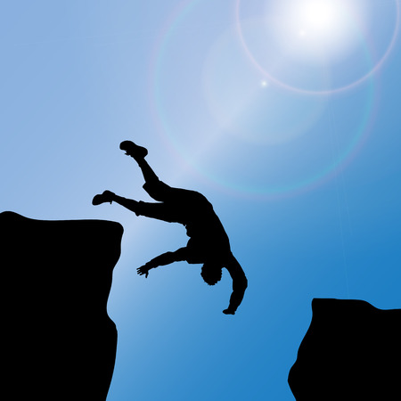 daring: Vector silhouette of a man who jumps from rock to rock. Illustration