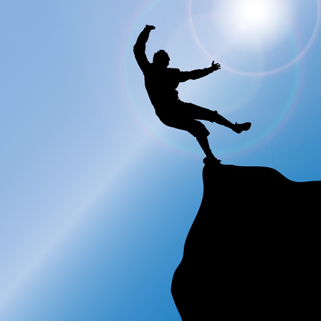 brave of sport: Vector silhouette of a man who jumps from rock to rock. Illustration