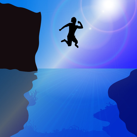 brave of sport: Vector silhouette of a man who jumps into the water.