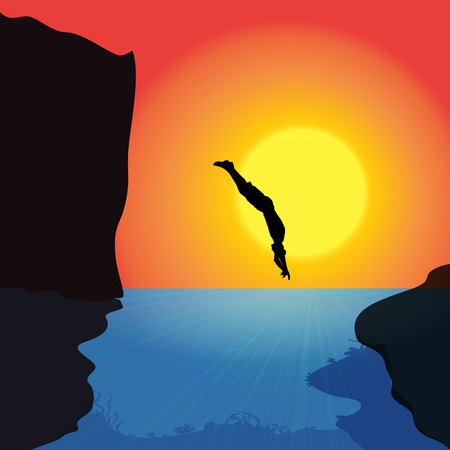 man underwater: Vector silhouette of a man who jumps into the water.