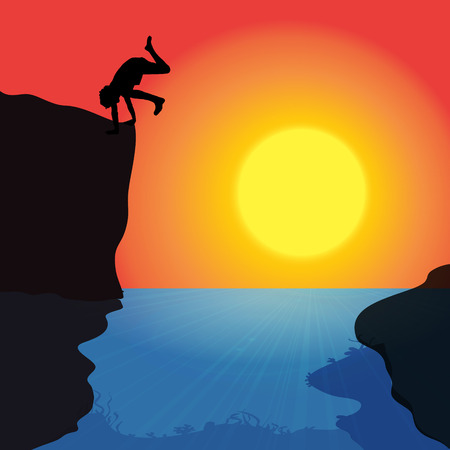 daring: Vector silhouette of a man who jumps into the water.