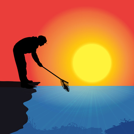 fisher man: Vector silhouette of a man who fishes at sunset.