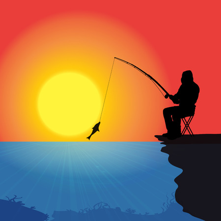 Vector silhouette of a man who fishes at sunset. Vector
