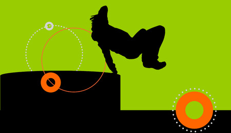 parkour: Vector silhouette of a man who does parkour.