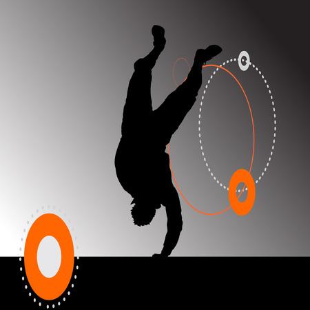 break dance: Vector silhouette of a man who is dancing break dance. Illustration