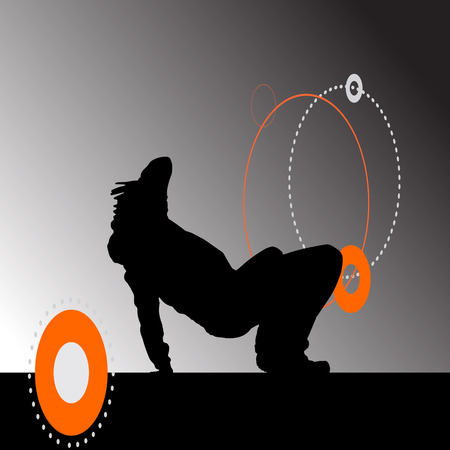 Vector silhouette of a man who is dancing break dance. Vector