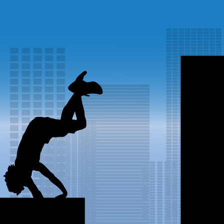 parkour: Vector silhouette of a man who does parkour in city.