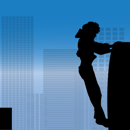 nice guy: Vector silhouette of a man who does parkour in city.