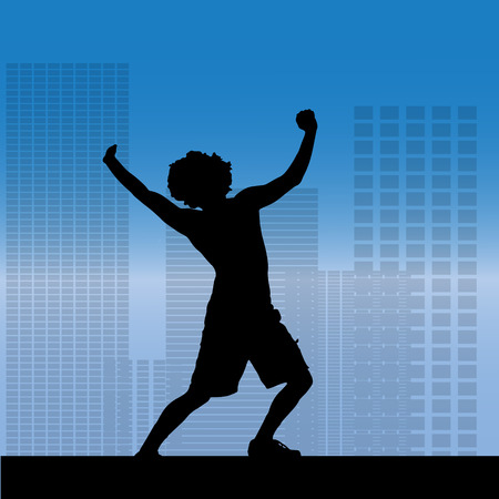 danced: Vector silhouette of a man who danced in city.