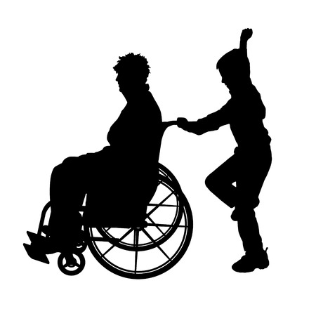 medicine wheel: Vector silhouettes man who is in a wheelchair with a son. Illustration