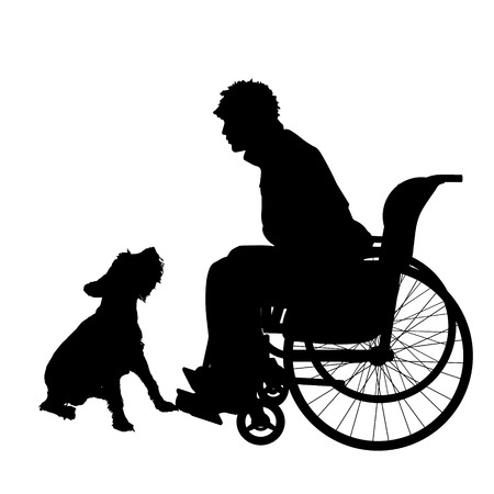little dog: Vector silhouettes man who is in a wheelchair with a dog.