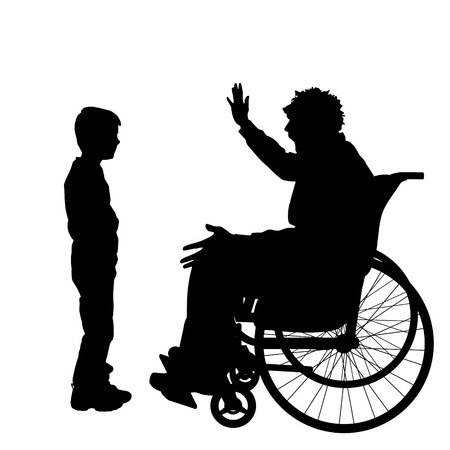 ire: Vector silhouettes man who is in a wheelchair with a son. Illustration