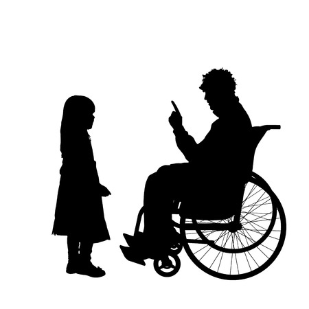 ire: Vector silhouettes man who is in a wheelchair with a daughter. Illustration