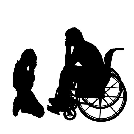 Vector silhouettes man who is in a wheelchair with a son. Vector