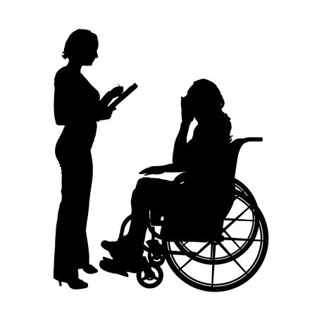 medical assistant: Vector silhouettes man who is in a wheelchair with a woman.