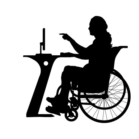 Vector silhouette of a man who is in a wheelchair and works with the computer. Vector