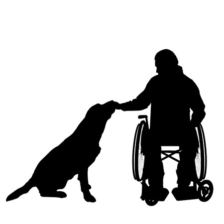 large dog: Vector silhouettes man who is in a wheelchair with a dog.