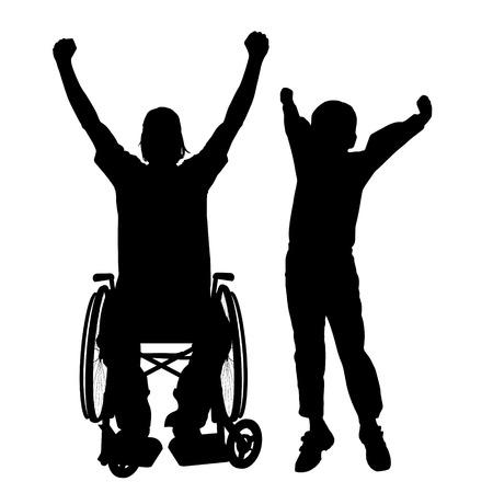 ni�o discapacitado: Vector siluetas hombre que est� en una silla de ruedas con un hijo. Vectores