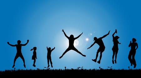 boy jumping: Vector siluetas de personas en el campo.