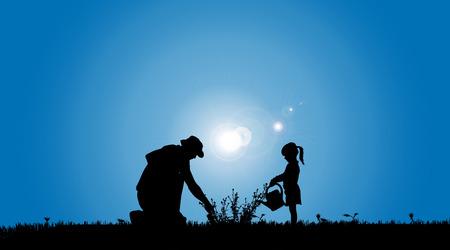 padre e hija: Siluetas del vector de la familia que trabajan en el jardín.