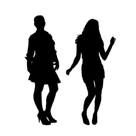 gente bailando: Vector silueta de una pareja en un fondo blanco.