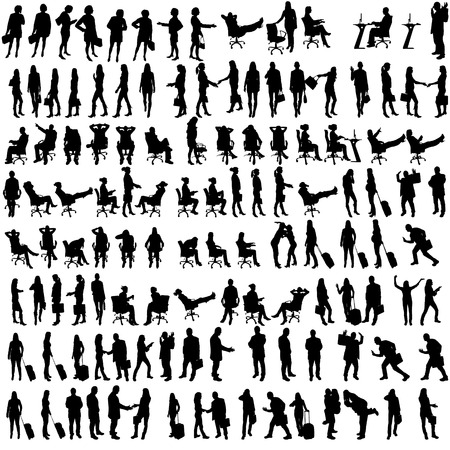 Vector silhouettes of people in set on a white background. Çizim