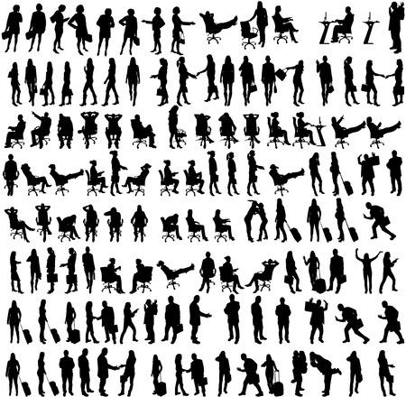 silueta masculina: Vector siluetas de personas en conjunto sobre un fondo blanco.