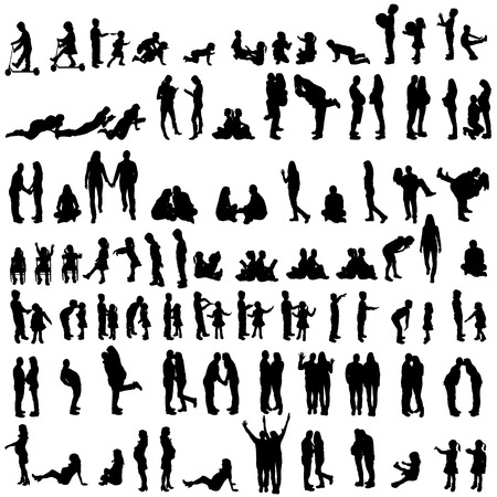 Vector silhouettes of family in the set on a white background. Vector
