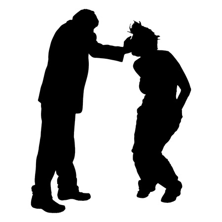slap: Vector silhouette of couple who argues on a white background.