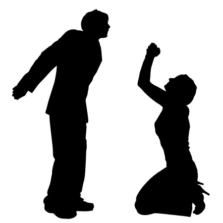 couple fight: Vector silhouette of couple who argues on a white background.