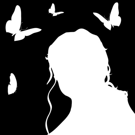 nameless: Vector silhouette of a woman in profile on a black background. Illustration
