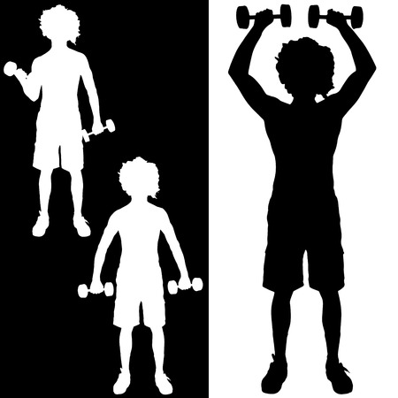 Vector silhouette of a man who practice.