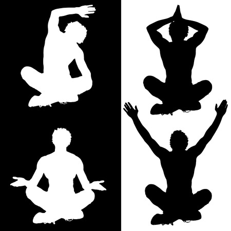Vector silhouette of a man who meditates on white and black background. Vector